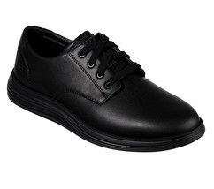 Skechers Black shoes Men Memory Foam Comfort Casual Leather Lace Plain T... - $49.79