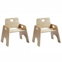 """8"""" Stackable Wooden Chair for Toddlers- Sturdy Hardwood Seat Natural Fin... - $142.99"""