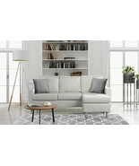 Modern Bonded Leather Sectional Sofa - Small Space Configurable Couch Gr... - $593.99