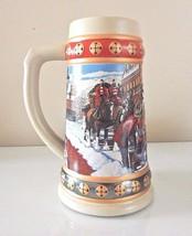 Budweiser Anheuser Busch Beer Holiday Stein Mug 1993 HOMETOWN HOLIDAY - $12.00