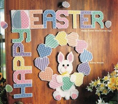 Plastic Canvas Easter Bunny Corner Sign Coaster Basket Tissue Cover Pattern - $13.99