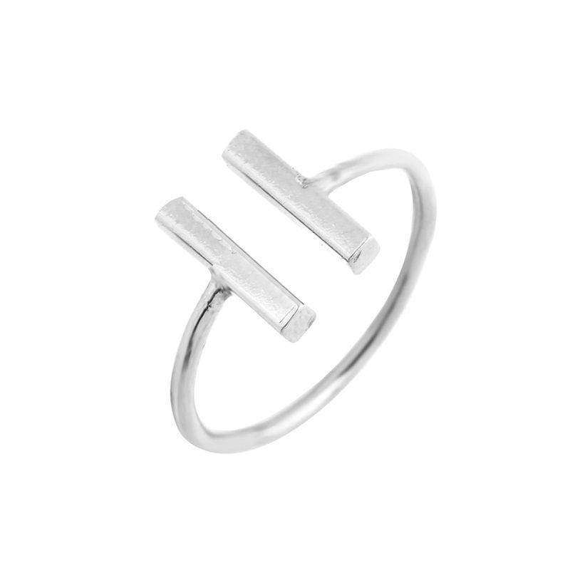 USA Double Bars Ring Women Cool Unique Adjustable Bar Shape Finger Midi Ring