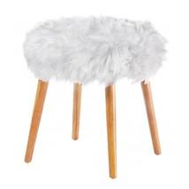 Decorative Stool, 4-legged Modern Decorative Round Fluffy White Faux Fur... - £75.64 GBP