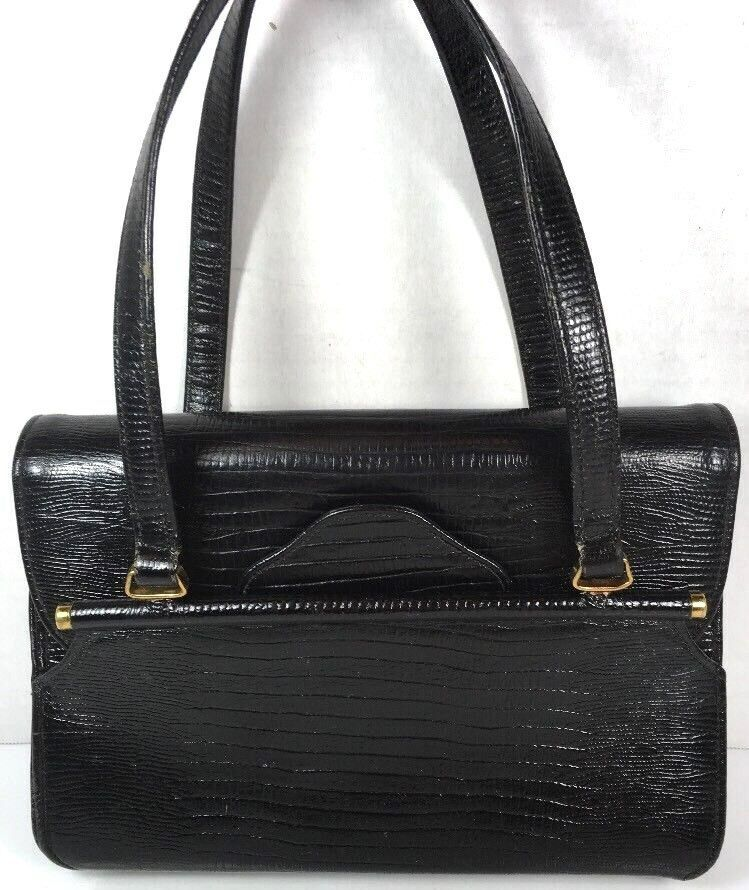 Triangle New York True Vtg Small Petite Black Faux Leather Reptile Print Handbag