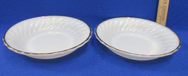 Pair Vintage Round Soup Bowls White Milk Glass ... - $11.87