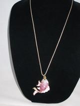 NEW Betsey Johnson Pink & White Rhinestone Carp Fish Pendant on Lo... - $24.50