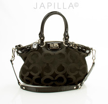 COACH 18650 MADISON BLACK OP ART SATEEN SOPHIA SATCHEL PURSE - $127.71