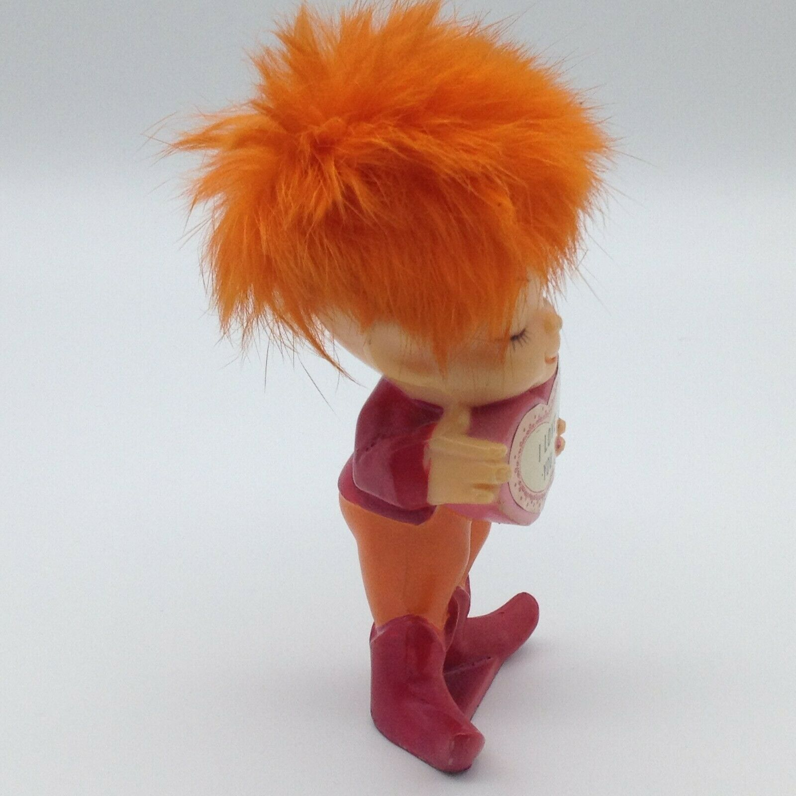 Vintage 1971 I love you Orange Hair Troll Pixie Berries Hong Kong Figurine