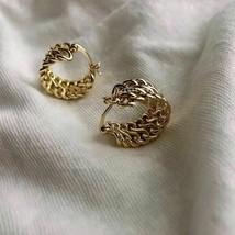 Korean Vintage Fashion Design Metal Gold Twist wreath Hoop Earrings - $6.53
