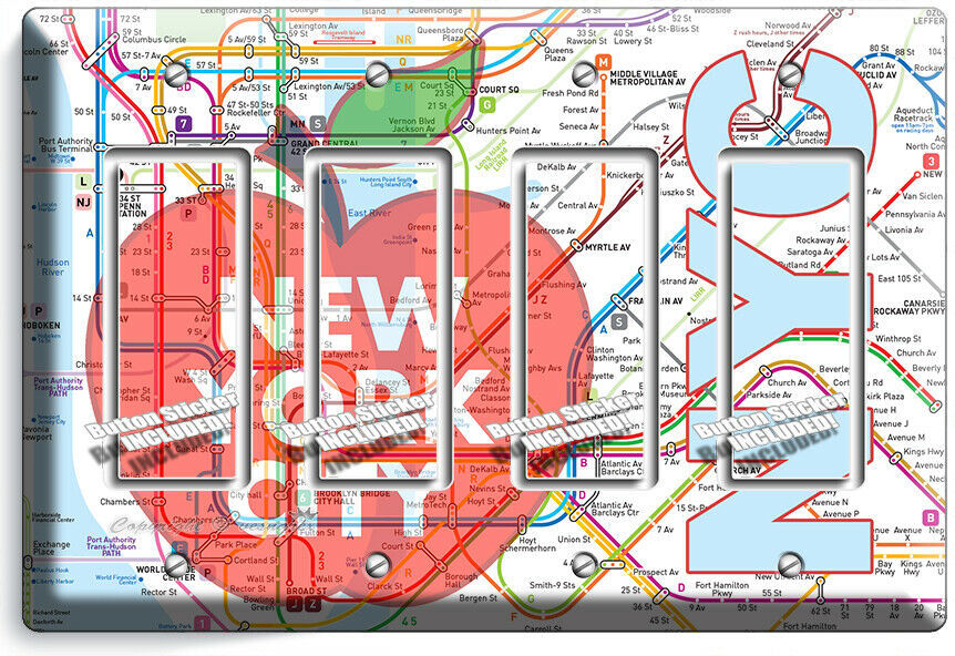NYC NEW YORK CITY BIG APPLE SUBWAY MAP LIGHT SWITCH OUTLES WALL PLATE ROOM DECOR image 15