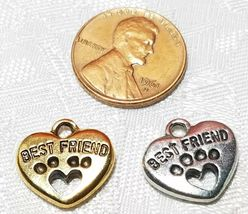 DOGS BEST FRIEND HEART PAW PRINT FINE PEWTER PENDANT CHARM 15mmL x 15mmW x 3mmD image 3