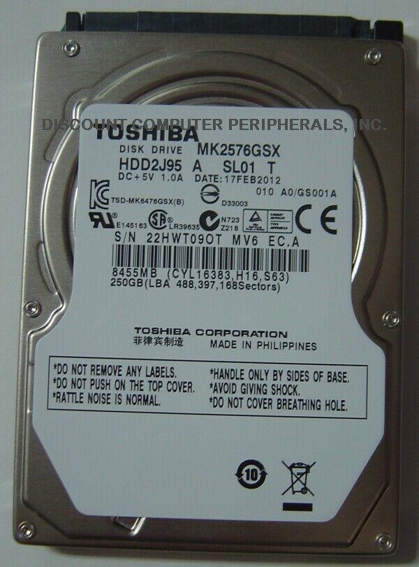 "New 250GB 2.5"" 9.5mm SATA Drive Toshiba MK2576GSX HDD2J95 Free USA Shipping"