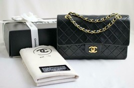 "CHANEL Vintage Medium 10"" Black Lambskin Leather Flap Bag 24k GH AUTHENT... - £2,170.55 GBP"