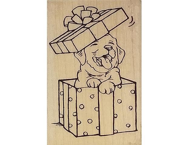 Stampendous Puppy Present Rubber Stamp #M306