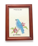 Vintage Embroidered State Bird Missouri Bluebird Handmade - $24.00