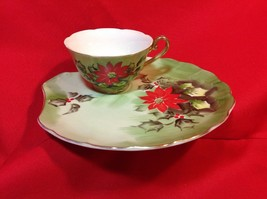 Vintage Lefton China Hand Painted Poinsettia Holly Cup and Plate 4397 Li... - $31.58