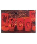 Halloween Wall Canvas W Lights Scary Lighted Decoration Candles LED Behi... - $24.70