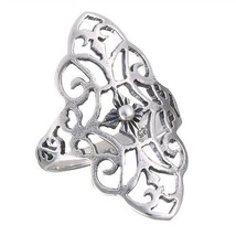 Stunning 925 Sterling Silver Filigree Flower Ring Size 6-10 - $22.99