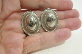 Oval Domed Silver Plate Brushed with Rope Frame Clip on Earrings Vintage... - $12.86