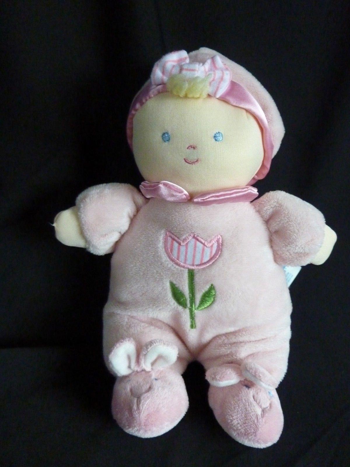 "Kids Preferred Pink Tulip Flower Plush Doll Bunny Slippers 12"" Soft Toy Stuffed"