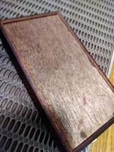 "Dark Wood Jewelry Organizer w/Mirror 5"" x 8"" Brocade Fabric Lid Made in China Je image 7"