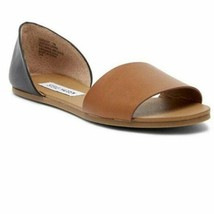 Steve Madden Womens Sidestep Open Toe Flat Sandals Size 6.5 M Black Tan NWT - $33.66