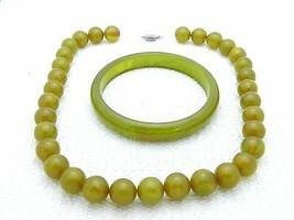 VTG Green Yellow Marbled End of Day BAKELITE TESTED Bangle Bracelet Neck... - $198.00