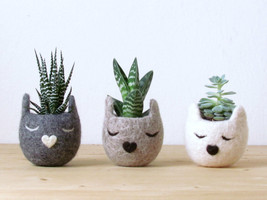 Succulent planter set / Cat head planter / Personalized felt vase / cat lover