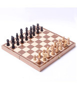 Chess Set Folding Wooden Portable Board Table Game Family Entertainment Wood Box - £10.30 GBP