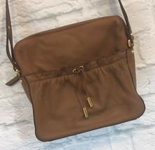 DKNY Karen Crossbody Brown Bag Purse Leather Drawstring Zip Close Chesnut - $24.14