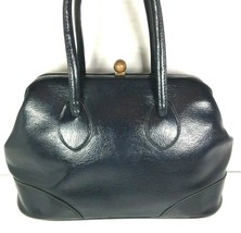 Garay True Vintage Large Navy Blue Faux Leather Handbag - $29.09