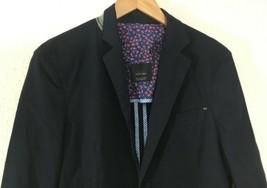 Zara Man Basic Mens 2 Button Blue 100% Cotton Blazer Sport Coat Jacket Sz L - $44.99