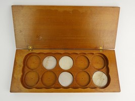 """Vintage wooden box w/ carved round slots doctors office 1-3/4"""" petri? in... - $26.17"""