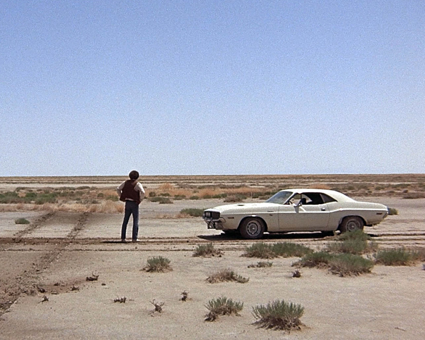 Primary image for  Barry Newman Vanishing Point 1970 Dodge Challenger in Desert Iconic 16x20 Canva