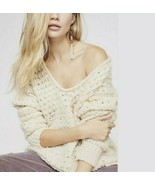 V82 Free People Crashing Waves Pullover Sweater Cream Small S $128 OB876... - $34.74