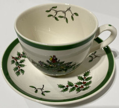 Spode Christmas Tree Cup And Saucer Sets Of Four White Withe Green Trim S3324-A2 - $70.13