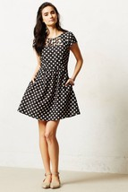 Anthropologie Maeve Nikola Lattice Dress Polka Dot Size 12  ASO Glee Quinn - $74.24