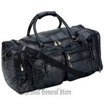"""Black Leather 25"""" Tote Duffle Bag Gym Sport Travel Overnight Luggage Sat... - $34.89"""