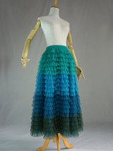 Multi-Color Tiered Tulle Skirt A-line Layered Tulle Midi Skirt Party Outfit image 3