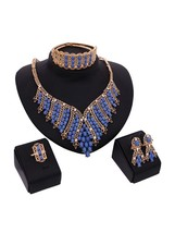 Mysterious Blue Beads Drop Appeal 5 Pcs Jewelry Set - $18.99