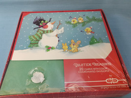 Christmas Holiday Snowman Rabbit Birds 20 Cards & Envelopes Red Green White - $12.95