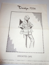 Vintage Design 7256 Crocheted Cape  - $7.99