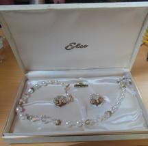 Vintage Elco Aurora Borealis Crystal Necklace & Clip-On Earring Set Esta... - $67.32