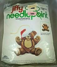 "Jiffy Needlepoint ""Jingles Plays Santa"" 3-D Ornament 4"" High 1978 Teddy ... - $12.19"