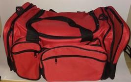 Medium Gym Bag Duffel Workout Sport Bag Travel Carry on Bag Red and Black - $13.37