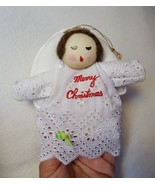 Vintage Merry Christmas Fabric Cloth Angel with wings Holiday Retro Deco... - $13.60