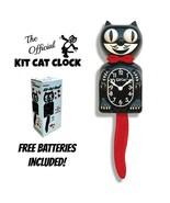 "CRIMSON ROYALE Kit Cat CLOCK 15.5"" Black Red Free Battery USA MADE Kit-C... - £51.15 GBP"