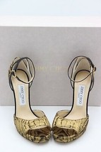 NIB Jimmy Choo Pearl 120 Moire Metallic Gold Black Ankle Buckle Sandals 6.5 36.5 - $325.00
