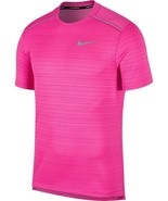 NEW NIKE RUNNING DRI-FIT PINK REFLECTIVE TRIMS ATHLETIC SWOOSH TEE T-SHI... - $24.74