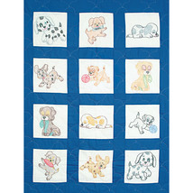 "Jack Dempsey Stamped White Nursery Quilt Blocks 9""X9"" 12/Pkg-Puppies - $13.54"